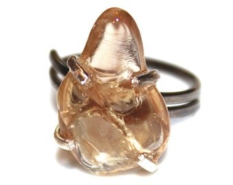 Oregon Sunstone Ring Peach Sunstone Jewelry Black Gold Ring Adjustable Ring Peach Schiller Sunstone Jewelry Delicate Sterling Silver Ring