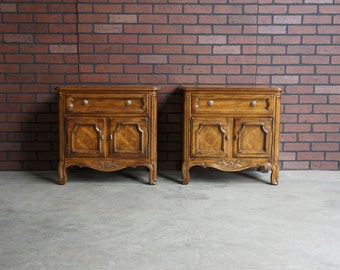 Nightstand / Pierre Deux Style Nightstand  / Bedside Chest  / French Provincial Nightstand / Cabernet Collection by Drexel Heritage ~ Pair