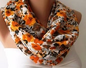 Christmas Gift Holiday Gift Scarf, Shawl, Gifts For Her, Gifts For Women Flowered Pattern Infinity Scarf