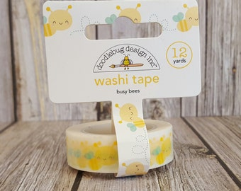 Busy Bees Doodlebug Design Inc. Washi Tape - 12 Yards - Bug Bee Decorative Trendy Paper Packaging Tape
