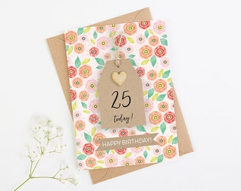 Any Age Personalised Birthday Card Floral Tag