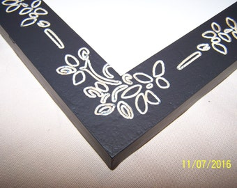 16 x 20 Ready to Ship Picture Frame ~ Black Magic Satin ~ 1 1/2 inch Flat Profile w CNC Engraved Ornate Floral Design
