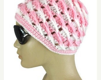 Gift For Mom Womens crochet hat, Pink and white beanie with crochet flower, Winter hat, gift for her