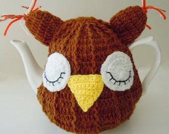 Hand Crocheted Knited Owl Tea Cosy 4-6 Cup