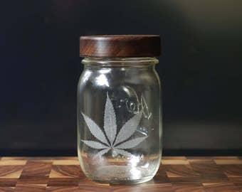 Stash Jar - One Pint - Beautifully Engraved - Custom Sealed Walnut  Lid