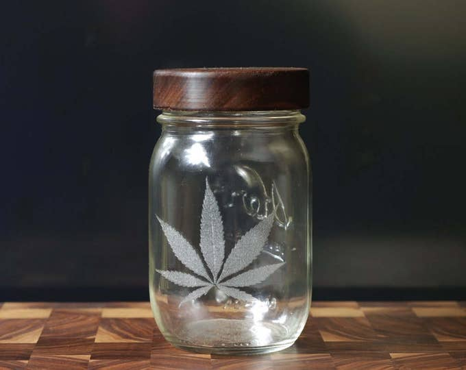 Stash Jar - One Pint - Beautifully Engraved - Custom Sealed Walnut  Lid