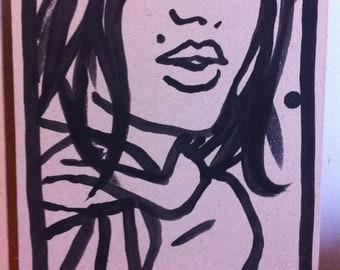 Dessin original, original artwork, portrait sexy girl fille sur carton/cardboard