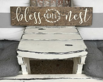 Bless our Nest - Our Nest - Rustic Wood Sign - Gallery Wall Decor - Christian Wall Art - Wall Hanging - Farmhouse Wall Art - Wood Wall Art