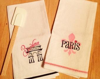 Set of 2 FLEUR de lis Arc de Triumph Dish Towels PARIS theme, Embroidered hand made