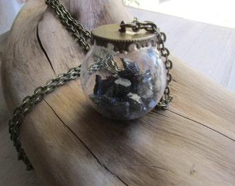 Ball pyrite pendant necklace
