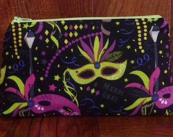Mardi Gras Make Up Bag/Zipper Pouch