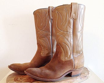 Vintage 1990s Tan Leather and Suede Cowboy Boots Ladies 7 1/2 or 8