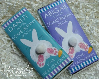 Easter favors etsy easter bunny chocolate bar favor bunny pom pom tail for easter baskets easter negle Gallery