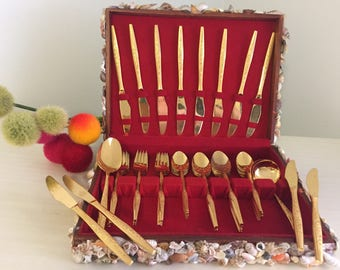 VINTAGE FLATWARE Golden Bouquet Service for 8+ with Shelled Cutlery Box, Cutlery Chest, Seashell Box, Wedding Registry at Ageless Alchemy