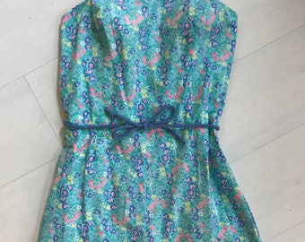 1970s Sea Waves Floral Playsuit/Swimsuit | Vintage Romper