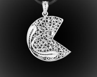 Pacman pendant in silver embroidery