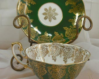 Royal Albert Cup and Saucer  - Made in England Bone China - Forest green with lots of gilding and gold grapes.