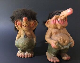 Vintage Set of 2 Trolls
