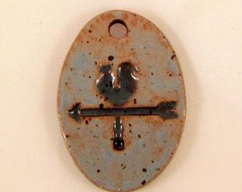 Large Glazed Pottery Pet Cremains Motif Pendant or Ornament - Custom Memorial Pet Cremation Keepsake -  WEATHERVANE