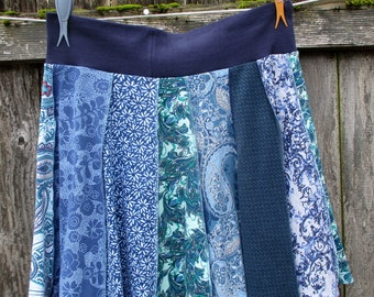 T-Shirt Skirt - Upcycled Clothing for Women - Yoga Skirt - Navy Teal Mint Denim - Great with Leggings - Handmade Apparel - Eclectic Style