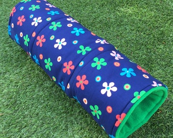 """Cosy tunnel for guinea pigs / hedgehogs / rats / chinchillas/ ferrets. 2 sizes 10"""" long or 20"""" long. Polycotton, wadding, fleece."""