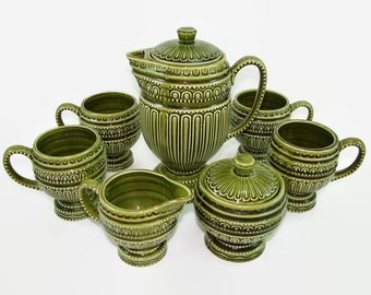 Royal Sealy Green Tea Set, Coffee or Tea Pot, Set of 4 Pedestal Mugs, Sugar and Creamer MCM Tiki Serving Set