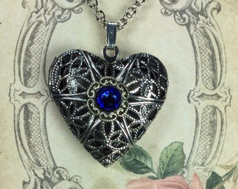 Locket Pendant Necklace, Locket with Sapphire Crystal, Aroma Therapy Locket, Locket with Swarovski® Crystal, Lockets for Wome