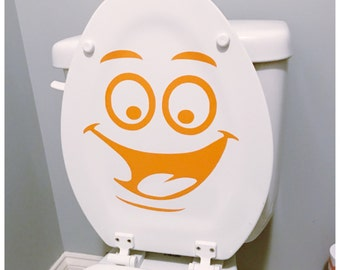 Toilet Seat Vinyl Decal - Funny Face Toilet Decal - Removable Sticker Kids Bathroom Decor - Toilet Seat Sticker - Happy Face Adhesive Decal