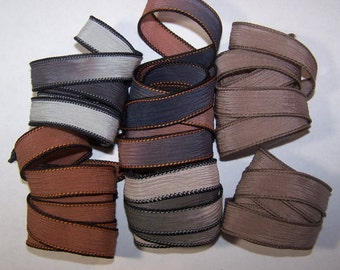 Discontinued/Experimental Ribbons/ Sassy Silks Hand Painted/Dyed Ribbons  Lot 100-0679