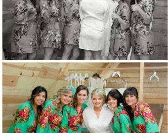 Floral Bridesmaids Robe set of 3,4,5,6,7,8,9,10,11 bridesmaid gift, Wedding Robes Bridesmaids, bridemaids Gift, , Bridal Party favours