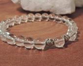 Clear Quartz Bracelet, Chakra Bracelet, Healing Meditation Bracelet, Yoga Bracelet, Wrist Mala, Om Bracelet, Buddhist Bracelet