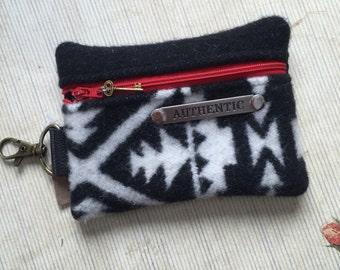 SHIPS TODAY Zippy Pouch in  Pendleton Wool & Leather
