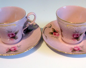 Tea Cup and Saucer Set, Porcelain Teacups, Leander Pink Tea Cups