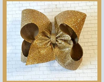 Gold Glitter Bow...Large Gold Bow...Large Glitter Bow..Gold Hair Bow..Glitter Hair Bow...Extra Large Bow...Thanksgiving Bow...New Years Bow