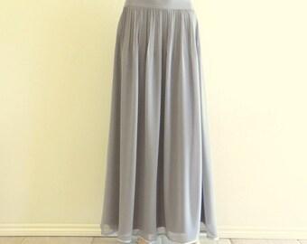 Cloud Grey Bridesmaid Skirt. Cloud Grey Long Evening Skirt. Chiffon Maxi Skirt.