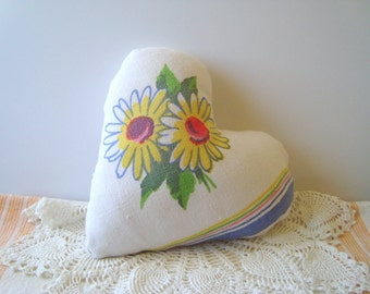 Heart pillow in vintage fabric