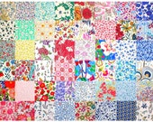 """Liberty Fabric 48 Mini Charm Squares 2.5"""" Bundle Patchwork Quilting Floral Bright + Pastel Rainbow Colours Liberty of London Tana Lawn"""