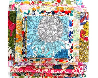 Liberty Fabric 70 Patchwork Quilting Scrap Bag Bundle Mixed Colours and Patterns Squares Oblongs Rectangles Flowers Floral Cotton Tana Lawn