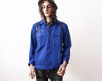 Vintage 1980s Work Jacket WorkWear Bleu De Travail Industrial Clothing Indigo Jacket Outerwear