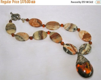 ON SALE 20% OFF Chunky Statement Necklace, Antique Nepalese Amber Pendant, Marble Flat Ovals, .925 Sterling Silver