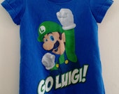"Girls Size 2T ""Mario Bros Luigi"" T-shirt Dress - Boy's cotton t-shirt refashioned into one-of-a-kind girls A-line dress"