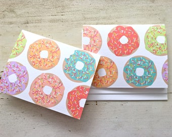 Dounnies Blank Notecards - 2 Designs - Set of 8 - Fun Donuts for any occasion - Personalization Available
