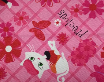 Pretty - Precious Cats / Kitens on Pink Cotton Fabric - By the yard - Half Yard or Fat Quarter - Total Available 1-1/2 Yards