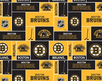 """Boston Bruin Cotton Fabric - Sold by Half Yard + 3-1/2"""" - I have a total of 1 Yard 7"""" Plust some scrap pieces"""