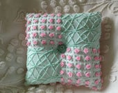 """Pillow Vintage Chenille in Morgan Jones Pink Rosebud and Cabin Crafts  Mint Green Fabric...12 x 12"""""""