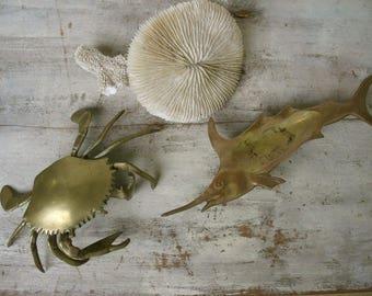 Brass Crab Brass Shark Ashtrays Tobacianna Sea Ocean Animals Beach Marine Animals House Decor