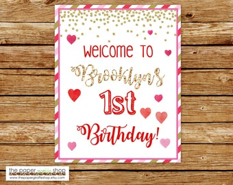 Our Little Sweetheart Birthday Welcome Sign | Valentines Birthday Party Welcome Sign | Hearts Party Welcome Sign