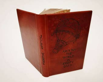 Jules Verne - Around The World in Eighty Days - Leather Book - Air Balloon