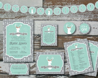 Deer and Arrow GIRL Baby Shower Kit - Deluxe - Custom Printable
