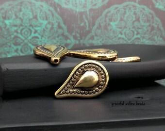 Antique Gold Finish Metal Coated Acrylic Teardrop Bead - Bohemian Vintage Style Faux Metal Bead - 25x16mm - Pkg. 6